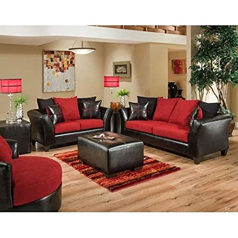 Amazon.com: Parkside Cardinal Microfiber Living Room Set: Home ...