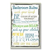 "The Stupell Home Decor Collection ""Bathroom Rules"" Typography Bathroom Wall Plaque"