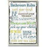 Stupell Home Décor U0027Bathroom Rules U0027 Typography Bathroom Wall Plaque, 10 X  0.5 X