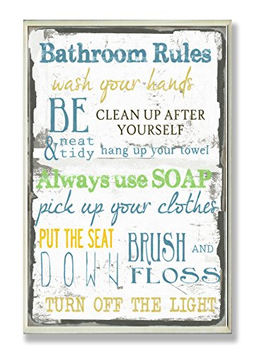 stupell home dcor bathroom rules typography bathroom wall plaque 10 x 05 x 15 proudly made in usa