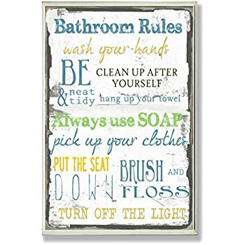 Amazon Com Stupell Home Decor Bathroom Rules Typography