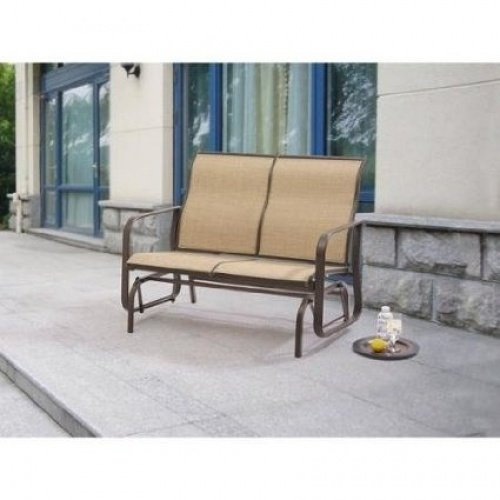 Mainstays Wesley Creek 2-Seat Outdoor Sling Seat Glider Tan (Patio Glider Mainstay)