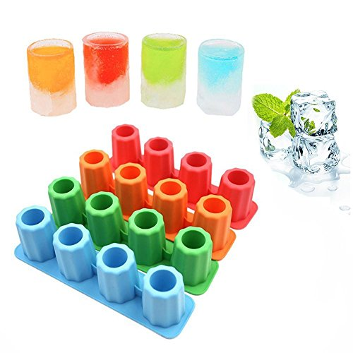 (Taloyer Creative Rectangular Silicone Ice Lattice Mold Shot Glass Freeze Mold Maker Icing Box Cube Tray Mould)