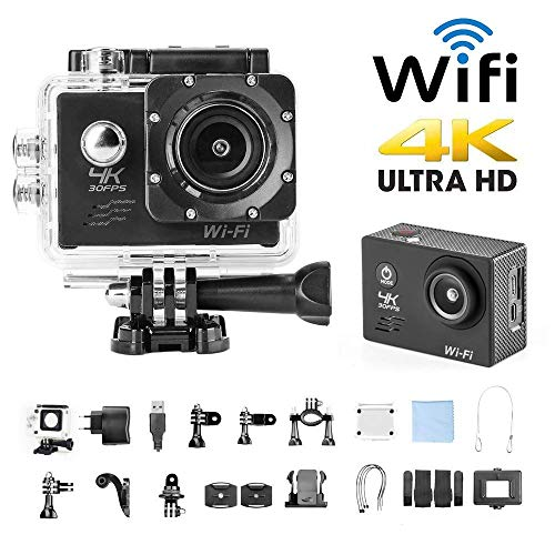 H9 Sport Camera Action Video Camera 4K WiFi Waterproof Sports Camera Full HD 4k 30fps 1080P 60fps 720p120fps Ultra HD Camera 16MP Photo and 170 Wide Angle Lens Rechargeable 1050mAh Battery Black