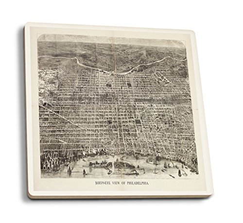 Philadelphia, Pennsylvania - (1872) - Panoramic Map (Set of 4 Ceramic Coasters - Cork-backed, Absorbent)