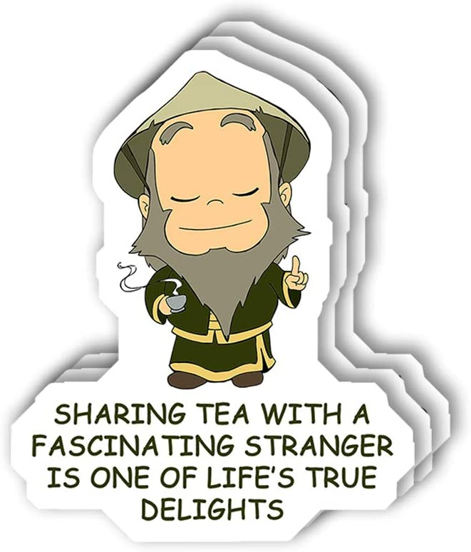 msgolbi 3 PCs Stickers Uncle iroh Sharing Tea Quote Design Sticker for Laptop, Phone, Cars, Vinyl Funny Stickers Decal for Laptops, Fridge
