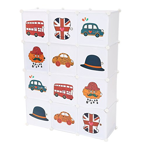 C&AHOME 12 Cube Storage Organizer Toy Rack Cabinet Wardrobe DIY Closet with Doors & UK Flag, White (Wardrobe Plastic Door)