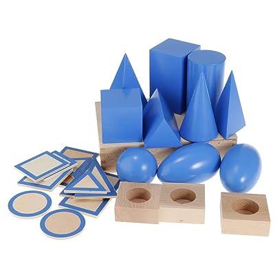 B Blesiya Material De Madera Montessori Matemáticas - Sólidos Geométricos: Juguetes y juegos