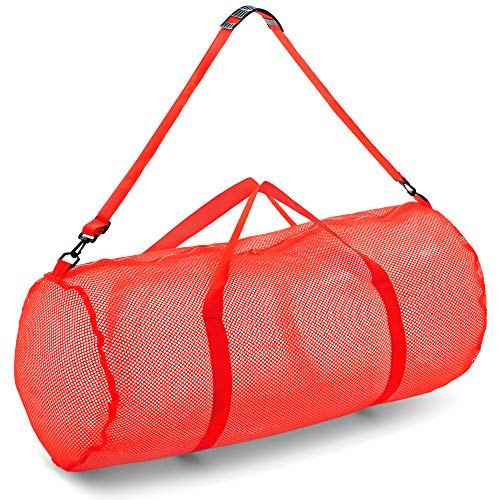 "Champion Sports Mesh Duffle Bag with Zipper and Adjustable Shoulder Strap, 15"" x 36"", Red - Multipurpose, Oversized Gym Bag for Equipment, Sports Gear, Laundry - Breathable Mesh Scuba and Travel Bag"