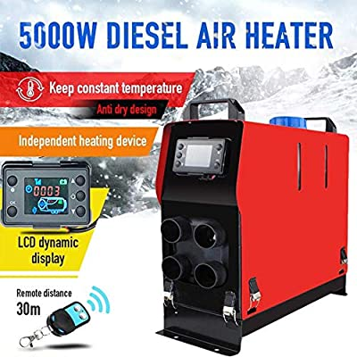 SHZONS Air Diesel Heater,12V 5KW Vehicle Heater Vans,Trucks,RV,Car Trailer,Boats,LCD Thermostat 4 Holes Cars Trucks Motor-Homes Boats Bus Parking Speed Hot