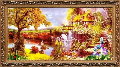 クロスステッチ 刺繍キット ファンタジー風景 (DMC刺繍糸) 図柄印刷 B00IWL8164