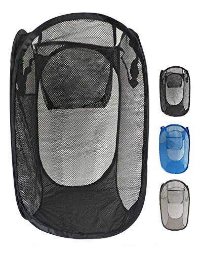 CosCool Lightweight Collapsible Stable Pop-Up Laundry Hamper With Side Pocket, Sturdy Durable Mesh Laundry Bags Storage Basket, 1 Pack, Black