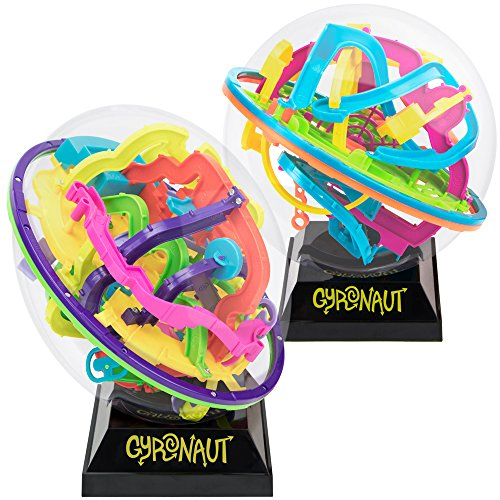 Gyronaut Jumble Bundle: Alpha and Omega 3D Puzzle Balls with Display Stands - 437 Extra-Challenging Tangled & Twisted Interactive Maze Obstacles