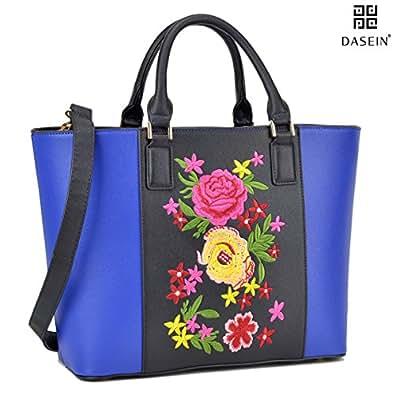 Dasein Women Classic Designer Flower Embroidery Collection Large Laptop Tote Bag Work Bag Satchel Handbag