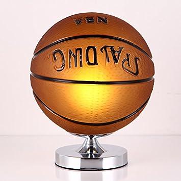 FGHOME Fer Table Lampe de Chevet Chambre Creative Soccer Basketball Lampe de Table Garçon Chambre Led Éclairage Protection Bureau Lampe de Bureau