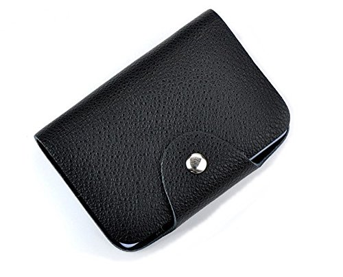 Genuine Leather Women Men ID Card Holder Card Wallet Purse 26 slots Protector Organizer (Black)