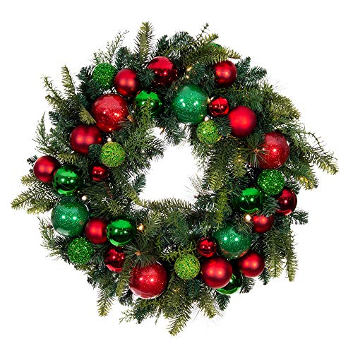 [30 Inch Artificial Christmas Wreath] - Christmas Cheer Collection - Red and Green Decoration - Pre Lit with 50 Warm Clear Colored LED Mini Lights - Includes Remote Controlled Battery Pack with Timer (30 Wreath Artificial Christmas)