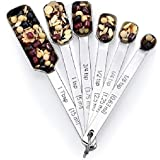 MEASURING SPOON STAINLESS STEEL SET - Set of 6 Measuring Spoon Bouquet - Narrow Square Measuring Spoons in Various Sizes - Best Heavy Duty Measuring Spoons Set for Cooking and Baking GAINWELL