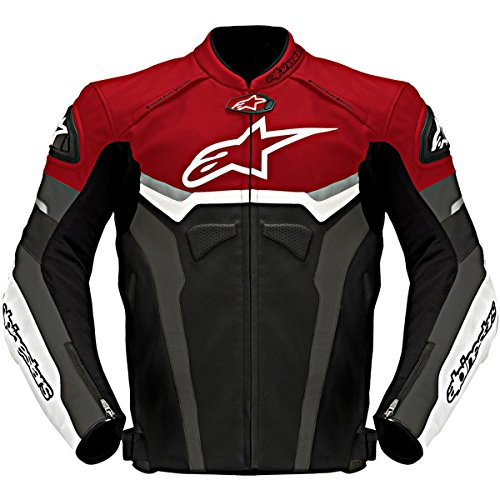 (Alpinestars Celer Men's Leather Street Bike Racing Motorcycle Jackets - Black/Red/Gray/Size 48)