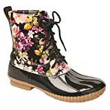 Women's Rosetta Floral Rain Boots - Mid-Calf Duck Boots - Lace Up Flower Print - Black Size 6