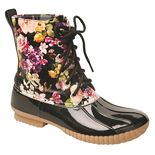 AVANTI Women's Rosetta Spring Flowers Mid-Calf Duck Rain Boots – Size 9 Black