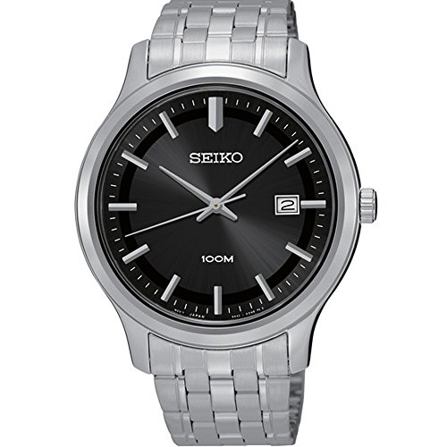 Seiko-Black-Dial-Stainless-Steel-Mens-Watch-SUR145