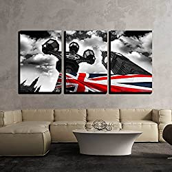 wall26 - 3 Piece Canvas Wall Art - Big Ben with Flag of England, London, Uk - Modern Home Decor Stretched and Framed Ready to Hang - 24x36x3 Panels