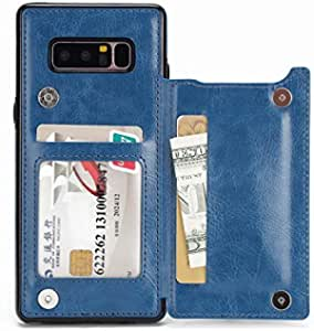 Samsung galaxy Note 8 Wallet Case with Card Holder Kickstand Card Slots Shockproof Cover for Galaxy Note 8 Blue