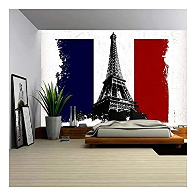 Grand Piece of Art, Illustration Eiffel Tower Over France Flag with Grunge Effect, Classic Artwork