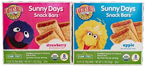 Earth's Best Organic Sunny Days Snack Bars, 2 Packs. 1 Box Strawberry and 1 Box Apple 8 Bars in each Box. Plus Free Bonus Disposable Baby Bibs and 1 Baby Washcloth. by Earth's Best