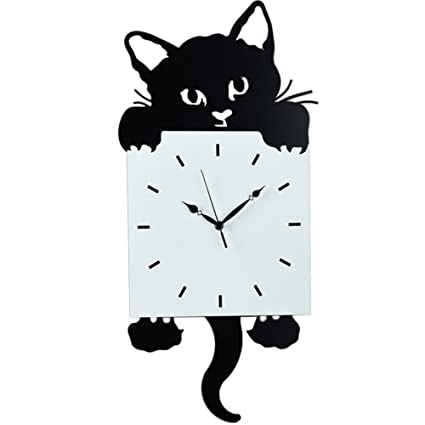 MS Creative cat pendulum clock wall clock - black cat wag tail home decoration quartz clock