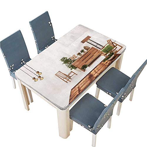 PINAFORE Polyester Cloth Fabric Cover Natural Wood Furniture White Wall Decor Modern lamp Decorative Tablecloths for Kitchen Room W33.5 x L73 INCH (Elastic Edge)
