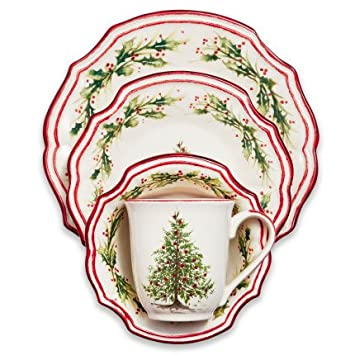 Sur La Table Holly u0026 Pine 16-Piece Dinnerware Set  sc 1 st  Amazon.com & Amazon.com | Sur La Table Holly u0026 Pine 16-Piece Dinnerware Set ...