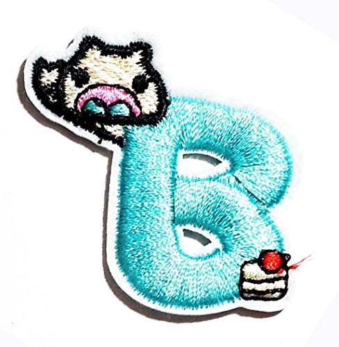 Blue B Patch Character Letter Alphabet School A-Z Patch B Letter B Bird Patch Alphabet ABC English for Hat Cap Polo Backpack Clothing Jacket T-Shirt DIY Embroidered Iron On Sew On Patch