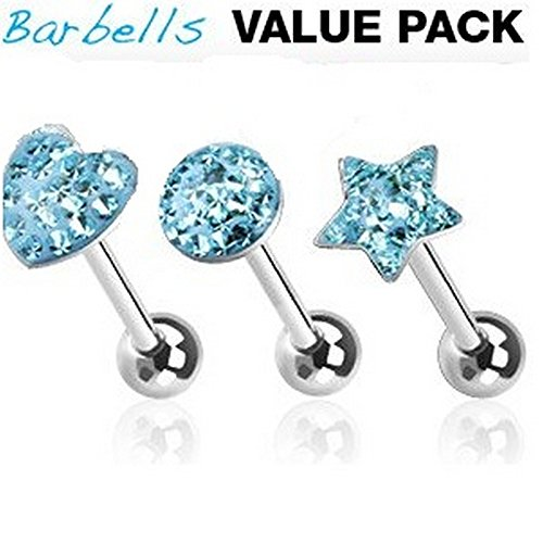3 Piece Assorted Shapes 316L Surgical Grade Steel Blue CZ Paved Tongue - Vb Q