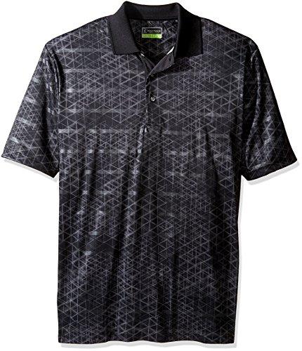 PGA TOUR Men's Big and Tall Short Sleeve Printed Polo Shirt, Striped Geo Caviar LT ()