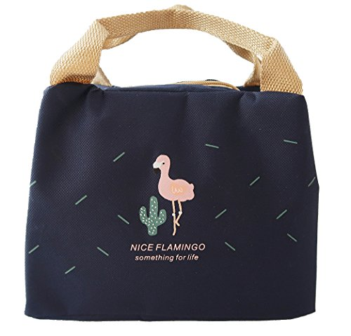 Jay+Gray Cute Lunch Bag Insulated Lunch Tote Holder Container with Handle Straps (Blue Flamingo)