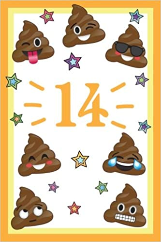 14 Year Old Happy Birthday Journal Funny Poop Emoji 14th Notebook Memory Keepers Emojis For Young Boys Girls