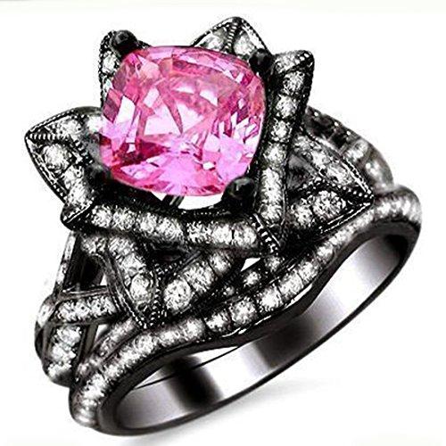 Smjewels 2.75Ct Cushion Cut Sapphire Lotus Flower CZ Diamond Ring Bridal Set 14K Black Gold Fn by Smjewels