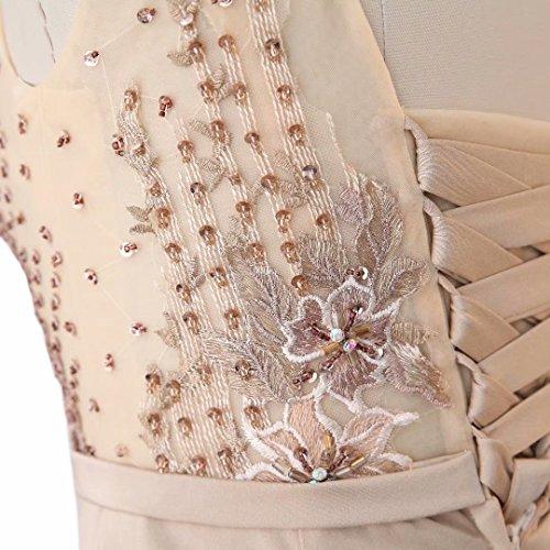L'amour Du Roi Élégant Corset De Satin De Sirène De Perles Longue Robe De Bal Robes De Soirée Cou Illusion De Color05