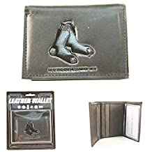 MLB Officially Licensed Genuine Leather Tri-Fold Wallet -Black