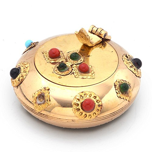 Little India Pure Brass Gemstone Ash Tray Handicraft Gift -172