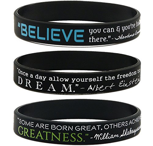 (12-pack) Motivational Quote Wristbands -Believe, Dream, Greatness Silicone Rubber Bracelets - Wholesale Lot of Bulk Gifts For Adults Men Women Teens