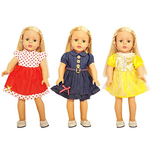 3-Piece 18 inch American Doll Princess Party Dress Outfits for 16 18 inch Girl Doll Clothes & Baby Dolls Dresses by Festar