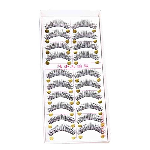 dolly2u 10 Pairs Fine Natural Reusable Handmade Soft Curling False Eyelashes Thick Slim