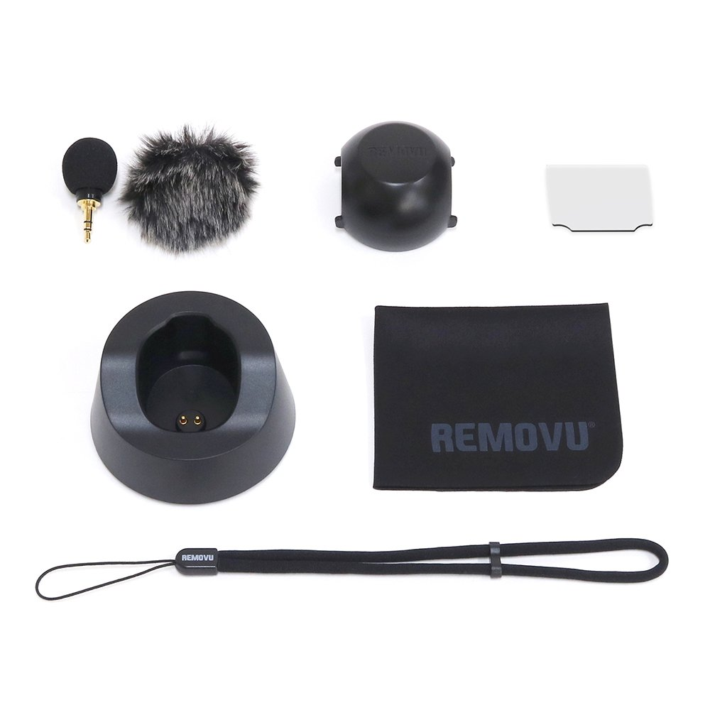 REMOVU K1 Accessory Kit with Microphone, 2 Windscreens, Charging Cradle, Lens Cover, Strap, LCD Protector & Cloth by Removu