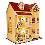 HAI DIY Dollhouse Creative Toys for baby Festival Gift for Children +LED Lights&Battery Box Switch/A