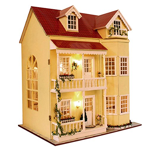 HAI DIY Dollhouse Creative Toys for baby Festival Gift for Children +LED Lights&Battery Box Switch/A by HAI
