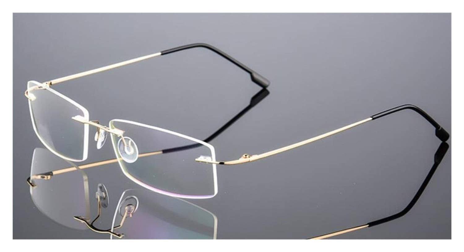 Frame Color : F858 Black Spring Temple Myopia Optical Frame Ultra-Light Frameless Eyeglasses Glasses Classic Mens Titanium Rimless Glasses Frames