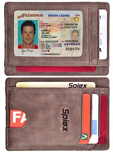 Team Logo Wallets - Slim Wallet Front Pocket Minimalist Genuine Leather RFID Blocking Card Holder